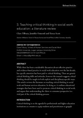 teaching critical thinking in social work